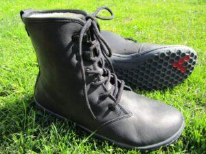 Vivobarefoot Gobi Ladies Hi Top Barfuß-Winterstiefel aus schwarzem Leder