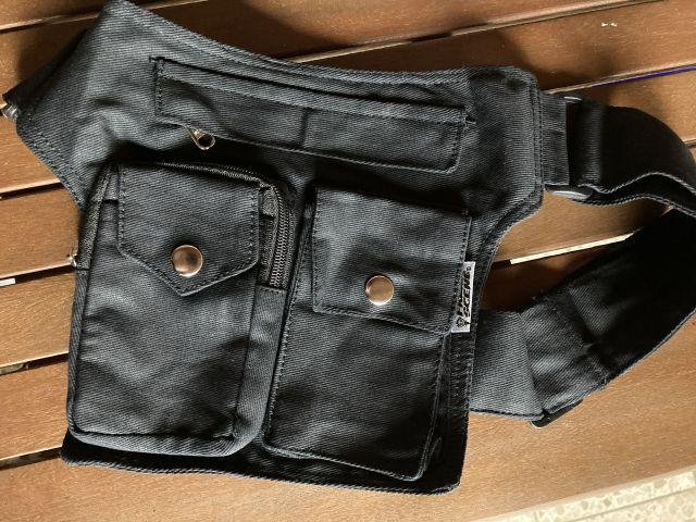 Schwarze Sidebag aus Baumwolle für draußen