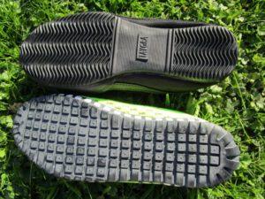 Sohlen der Taygra Barfußschuhe im Vergleich