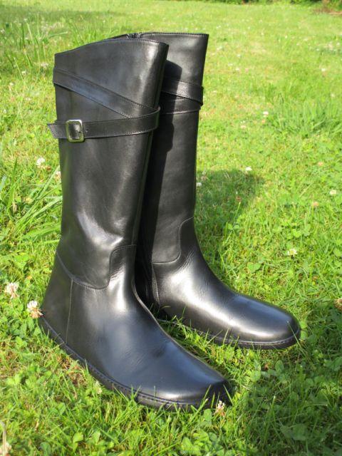 Schwarze Barfuß-Lederstiefel für Damen