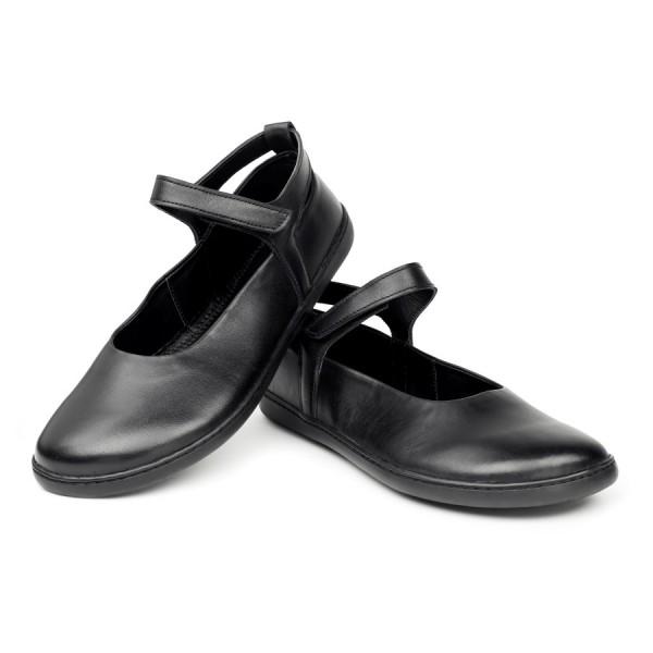Ballerina für Damen - Barfußschuhe aus schwarzem Nappaleder von ZAQQ