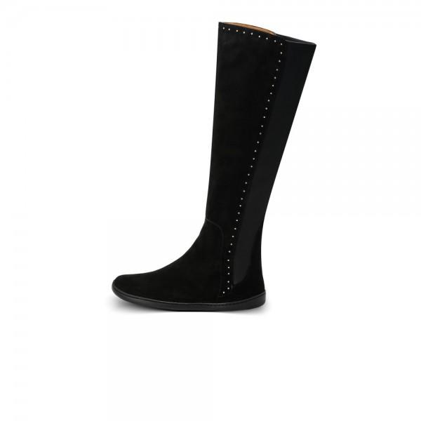 Barfußstiefel für Damen aus schwarzem Veloursleder mit silbernen Nieten