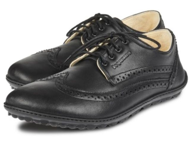 Damen-Schnürschuh, Barfußschuh aus schwarzem Leder